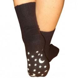 Angorinės šildančios kojinės su neslystančiu padu. Juodos.